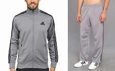 New Adidas Men's Gym F14 Varsity Post Game Track Suit Jacket & Pants Grey SZ M