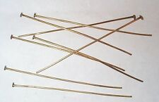 VINTAGE SUPER QUALITY SUPER LONG 3 1/8 INCHES  BRASS HEAD PINS FINDINGS 36 PCS