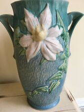 Roseville Pottery Blue Clematis Pattern Tall Vase - 112-12 - 12 1/4 inches tall