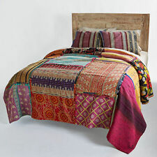 Bohemian Patchwork Quilt  Vintage Kantha Throw Antique Kantha Quilt Coverlet
