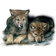 """WOLF:  """"TWO CUBS"""" on 18"""" x 22"""" Fabric Panel for Quilting & Sewing"""