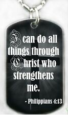 Philippians 4:13 I can do all things Christ..DOG TAG Necklace/Keychain+FREE ENG.
