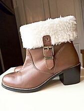 Faith Tan Brown Designer Ladies Women Ankle High Heel Shoe Boot Size 4 37
