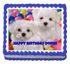 Custom cake topper Dogs Puppies frosting sheet personalized icing image
