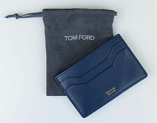 NWT TOM FORD Sapphire Blue Smooth 100% Leather ID Card Holder Wallet $250