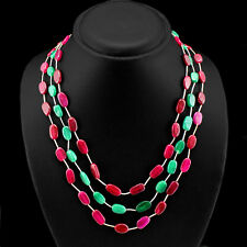 OUTSTANDING 262.00 CTS EARTH MINED 3 LINE RED RUBY & GREEN EMERALD BEAD NECKLACE