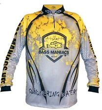 BASS MANIACS FISHING JERSEY SPLASH YELLOW TOURNAMENT JERSEY UPF50