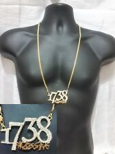 Gold Hip Hop Iced Out Crystal 1738 Zoo Gang # Remy Boys Chain Cuban Necklace