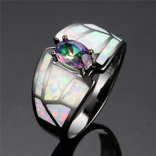 White Fire Opal & Oval Cut Mystic Rainbow Topaz Black Gold Filled Ring Size 6-9
