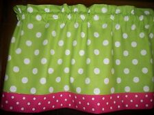 "Lime Green Polka-Dot Pink White window topper curtain 13"" by 42"" Valance"