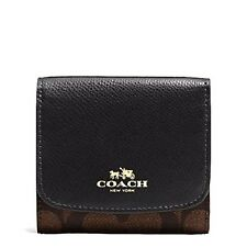 NWT Coach Signature PVC Small Wallet Brown/Black F53837~Pretty!