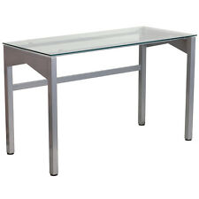 FLASH FURNITURE CONTEMPORARY DESK COMPUTER OFFICE WITH CLEAR TEMPERED GLASS TOP