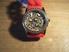 GORGEOUS NEW RED FASHION WATCH WITH TAG/ FOR SUMMER TIME/ANIMAL PRINT FACE