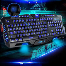 3 Led Backlit Backlight Illuminated USB Multimedia Ergonomic Gaming Keyboard UK