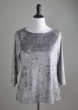 CHICO'S $89 Gorgeous Velvet Sheen Stretch Jacquard Damask Top Size 2 Large