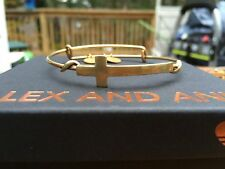ALEX and ANI SPIRITUAL ARMOR HORIZONTAL CROSS Charm Russian GOLD Bangle BRACELET