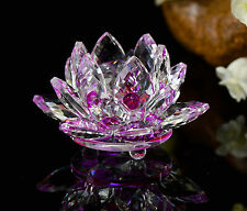 Feng Shui Purple Crystal Glass Lotus Flower Natural Stone with box Home Decor