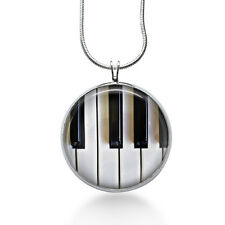 Piano Key necklace, music teacher, sing, silver, music notes, instruments