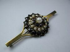 Große Granat / Perlen Brosche 333 / 8Kt. Gold - 7,2 cm / 10,6 Gramm