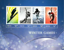 Nevis 2014 MNH Winter Games II 4v M/S Olympics Ski Jumping Speed Skating Figure