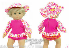 DEAL! Hot Pink Surf Style Swimsuit + Hat for Bitty Baby + Twins Doll Clothes