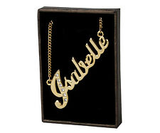 "Name Necklace ""ISABELLE"" - 18ct Gold Plated - Swarovski Elements - Name Plate"