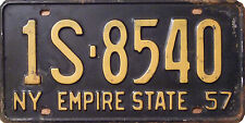 Framed Print - New York USA Number License Plate 1957 (Picture Poster Car Art)