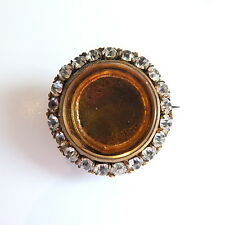 Stunning Antique Edwardian Gilt Paste Photo Locket Brooch
