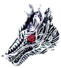 Punk goth style antique silver and red coloured dragon head ring, UK Size P