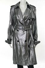 3.1 Phillip Lim Silver Metallic Lame Epaulette Detail Belted Trench Coat Size 2
