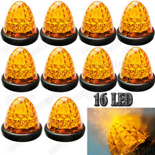 10X Amber 16 LED Truck Side Marker Lights Round Beehive Taillight Trailer Bulbs