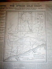 1873 headline newspaper w large MAP Anglo-Ashanti War GOLD COAST of AFRICA