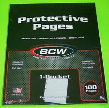 100 PRO 1-POCKET DOCUMENT PAGES, 8-1/2 X 11 POCKET, ARCHIVAL SAFE PAGES, BCW