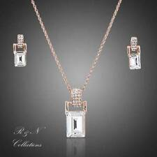 Rose Gold Plated Swarovski Clear Rectangular Necklace &  Earrings Jewellery Set