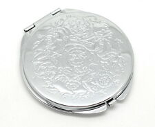 One New Portable Folding Makeup Mirror Round Silver Flower Compact pocket purse