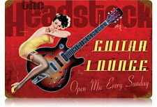 The Headstock Guitar Lounge Pin Up Gitarre USA Vintage Sign Blechschild Schild