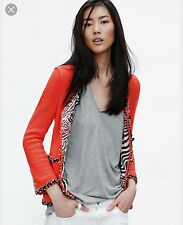 Zara Coral Red Boucle Jacket With Statement Lining