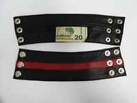 Genuine Lambskin Leather Wide Wristband Arm Money Wallet Hand Cuff Wrist Band