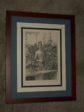 Vnitage, Original Framed Engraving by Louis Morin of a Young Lady Florist
