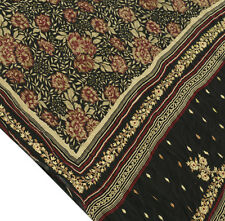 Vtg Indian Saree 100% Pure Crepe Silk Printed Embroidered Sari 5Y Fabric Black