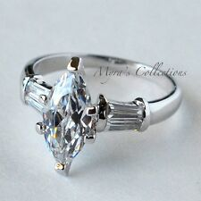 2.0 Carat Marquise Cut CZ Classic Anniversary Wedding Engagement Ring Size 6
