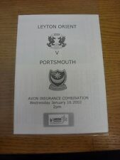 16/01/2002 Leyton Orient Reserves v Portsmouth Reserves  (4 Pages). Thanks for v