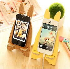 Universal Cute Rabbit Wooden Mount Desk Stand Holder Cradle for Phone Tablet PC