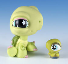 Littlest Pet Shop Turtle #504 Green With Aqua Blue and Pink Eyes + Tiny Teensies