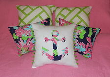NEW Anchor pillow made with LILLY PULITZER Sippin and Trippin fabric