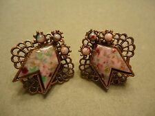 Vintage Copper Tone Filigree Lace Colorful Faux Opal Rhinestone Post Earrings