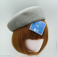 Wool Felt Women Plain Cadet Pillbox Hat | Gray | VINTAGE x FORMAL x NEW