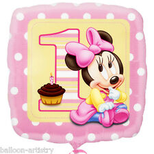 "18"" Disney Baby Minnie Mouse Happy 1st Birthday Girl Party Square Foil Balloon"