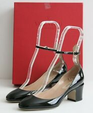 $845 BRAND NEW VALENTINO TAN GO Pump Black Ankle Strap Patent Leather 37 / 7