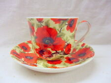 Large size breakfast cup and saucer in vibrant red poppy design